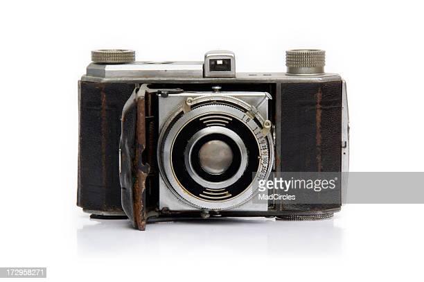 Antique camera on white.