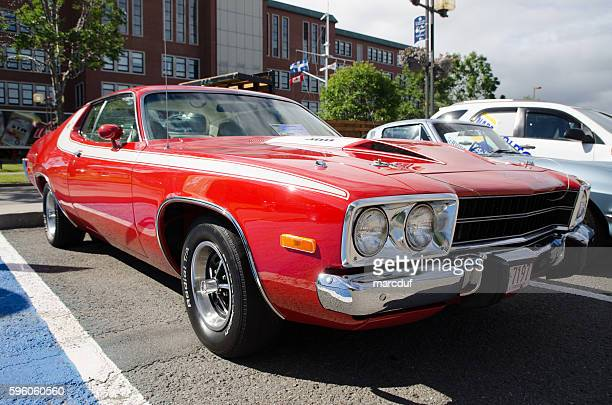 antique car: 1973 plymouth road runner - 1970s muscle cars stock pictures, royalty-free photos & images