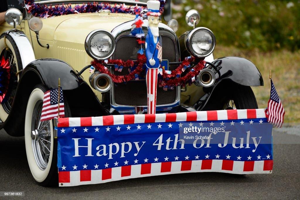 Antique Car And July 4th Decorations Manzanita Oregon Parade Stock