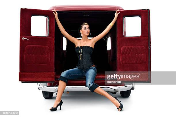 Antique Car with Beautiful Sexy Young Woman in High Heels