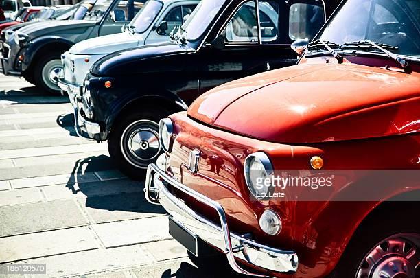 Antique cars parked