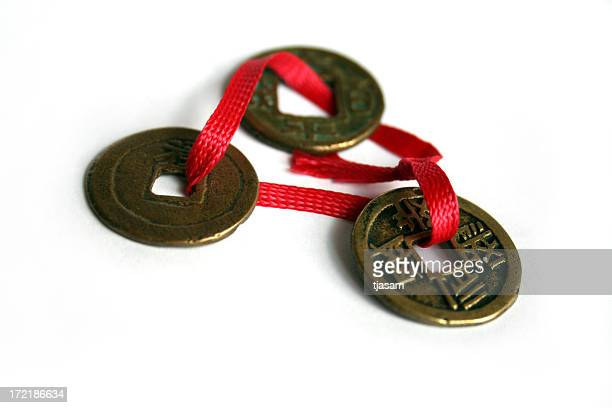 antique chinese coins - feng shui stock photos and pictures