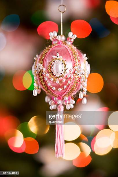 Antique Christmas Ornament with Blurred Tree Lights, Copy Space