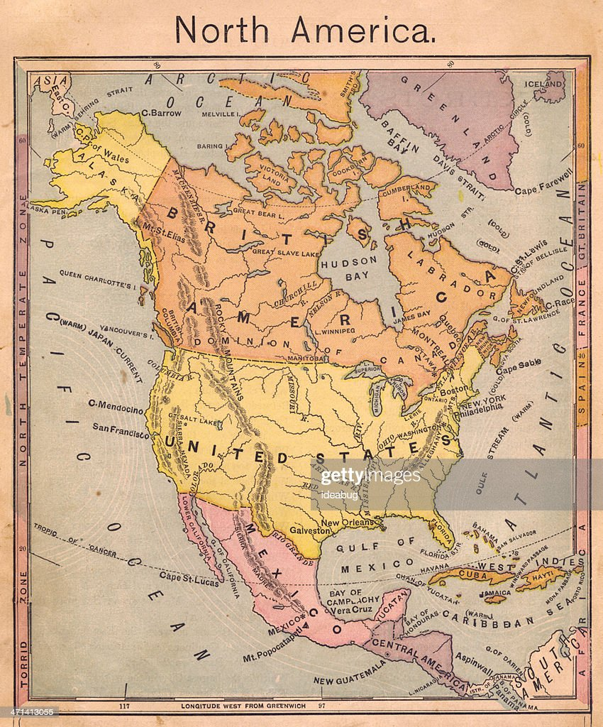 Color Map Of North America.1867 Antique Color Map Of North America Stock Photo Getty Images