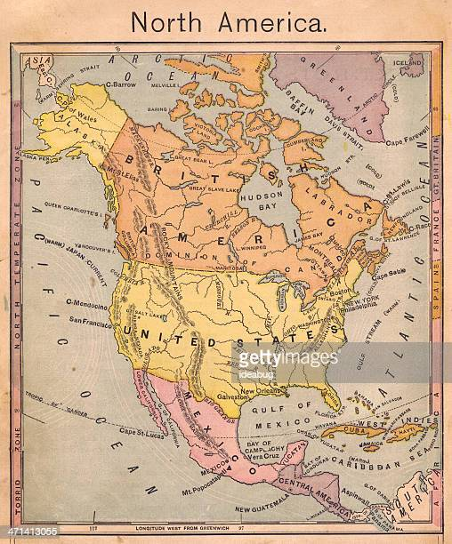 1867, Antique Color Map of North America