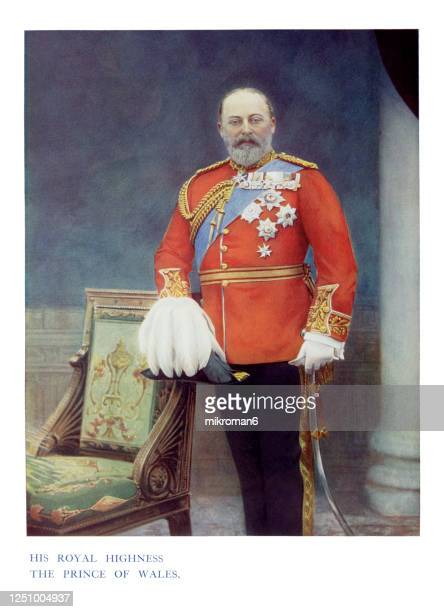 antique color portrait of king edward vii, the prince of wales - king royal person stock pictures, royalty-free photos & images