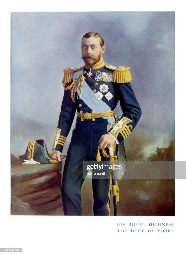 Antique color portrait of King George V, The Duke of York : Stock-Foto