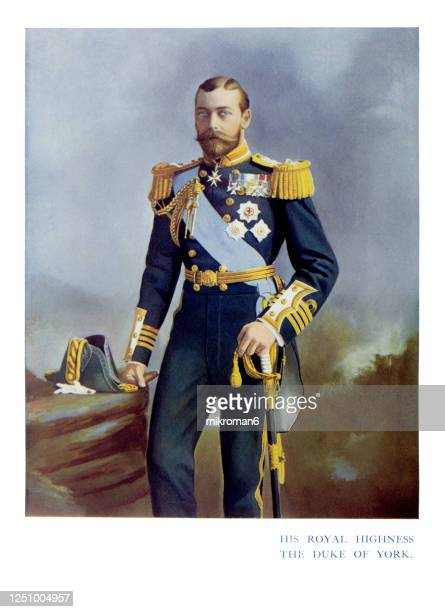 antique color portrait of king george v, the duke of york - 皇太子 ストックフォトと画像
