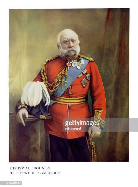 antique color portrait of prince george, duke of cambridge - herzog stock-fotos und bilder