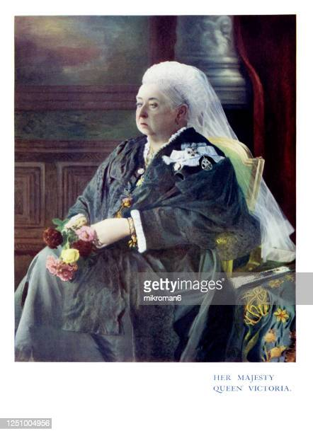 antique color portrait of queen victoria - royalty stock pictures, royalty-free photos & images