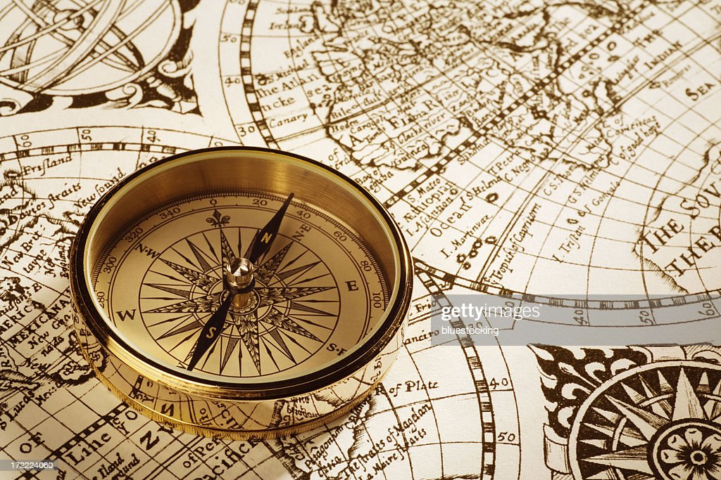 Antique Compass And Map Stock Photo Getty Images - Antiques us maps with compass