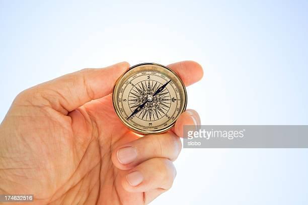 Antiker Kompass in der Hand