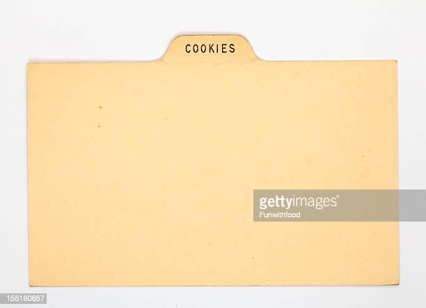 アンティークのクッキー指数&昔ながらのレシピカード、古いヴィンテージ紙の背景 - インデックスカード ストックフォトと画像