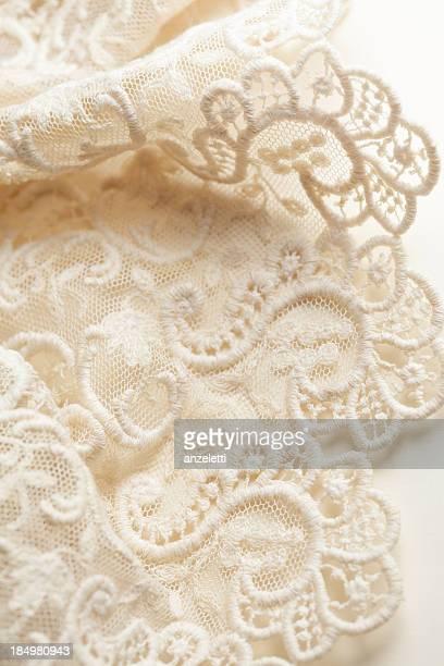 Antique cream colored lace edging