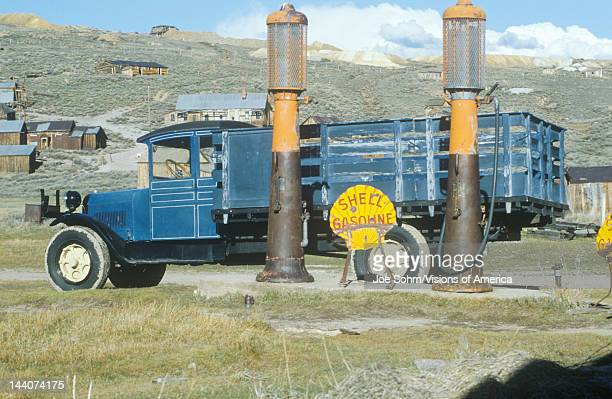 Antique delivery truck and gasoline pumps at Bodie a CA ghost town