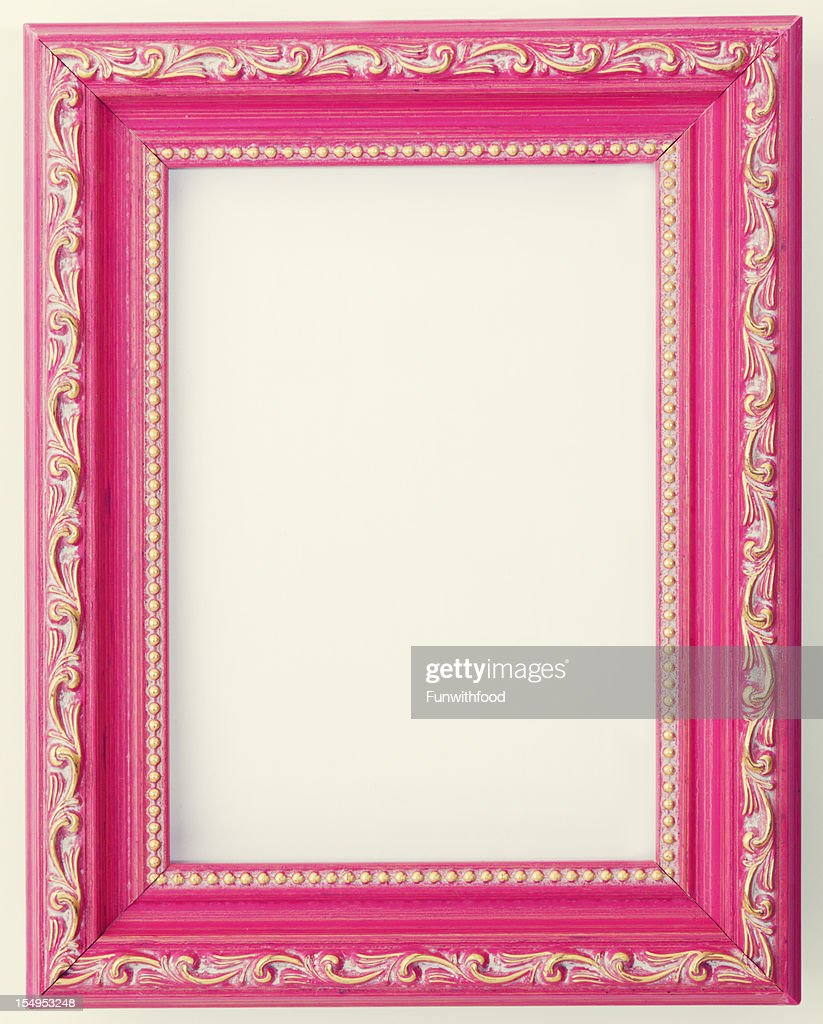 Antique Design Pink Painted Wood Empty Photograph Picture Frame ...