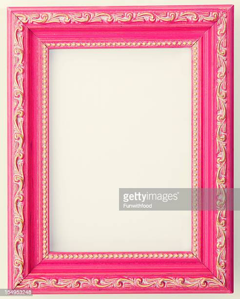 Antique Design Pink Painted Wood Empty Photograph Picture Frame Background