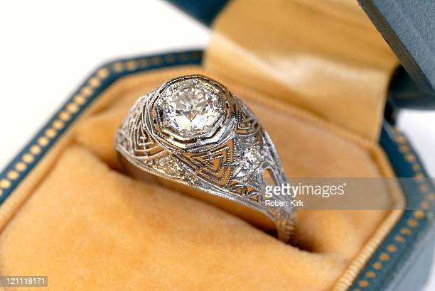 antique diamond ring - antique stock pictures, royalty-free photos & images