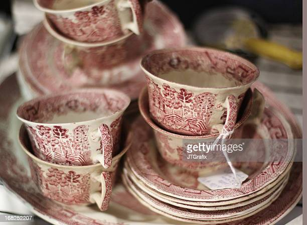 Antique Dishes-Red and White