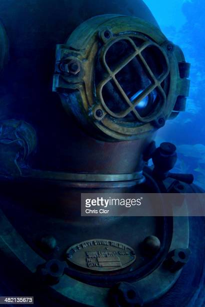 Antique diving suit underwater
