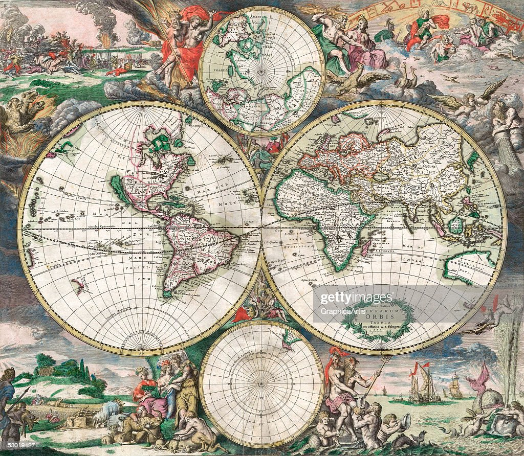 Antique dutch world map pictures getty images antique double hemisphere world map with landscapes and mythological scenes published in amsterdam gumiabroncs Choice Image