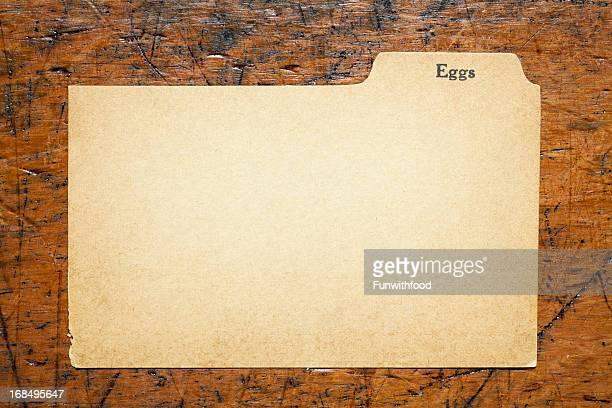 アンティークの卵ブランク指数レシピ、伝統的な紙の背景カード - インデックスカード ストックフォトと画像