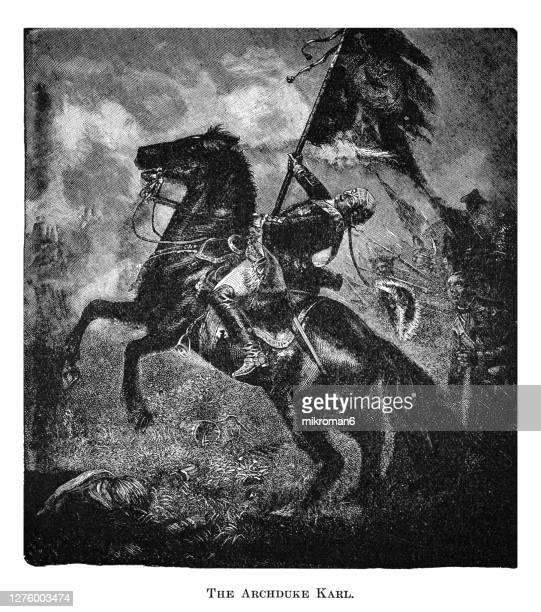 antique engraving illustration of archduke karl of austria, duke of teschen - duke stock pictures, royalty-free photos & images