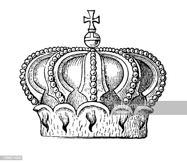 antique engraving illustration of duke crown - the royal photographic society stock pictures, royalty-free photos & images