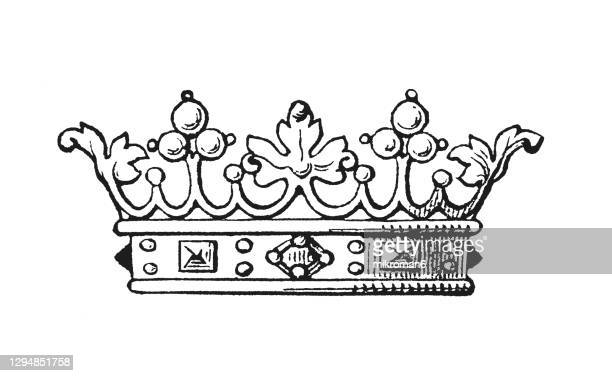 antique engraving illustration of french marquis crown - the royal photographic society stock pictures, royalty-free photos & images
