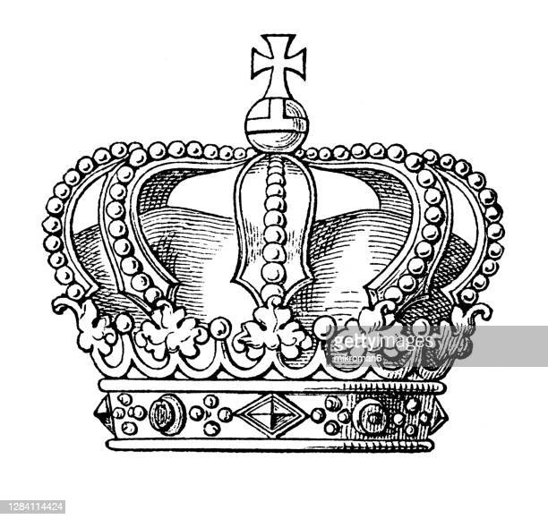 antique engraving illustration of grand duke crown - duke stock pictures, royalty-free photos & images