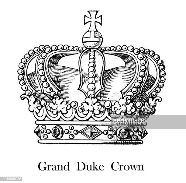 antique engraving illustration of grand duke crown - the royal photographic society stock pictures, royalty-free photos & images