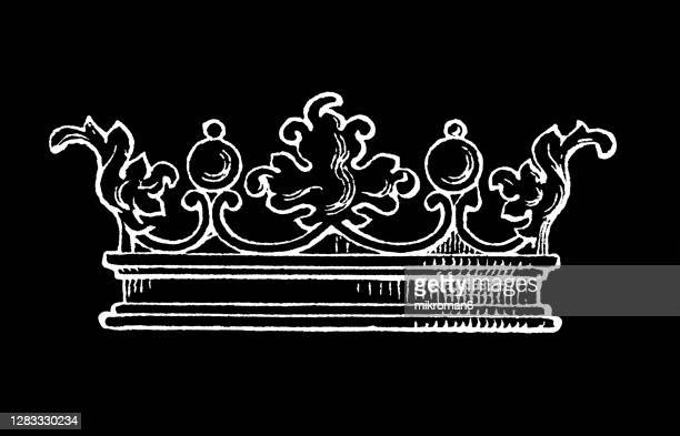 antique engraving illustration of old royal crown - the royal photographic society stock pictures, royalty-free photos & images