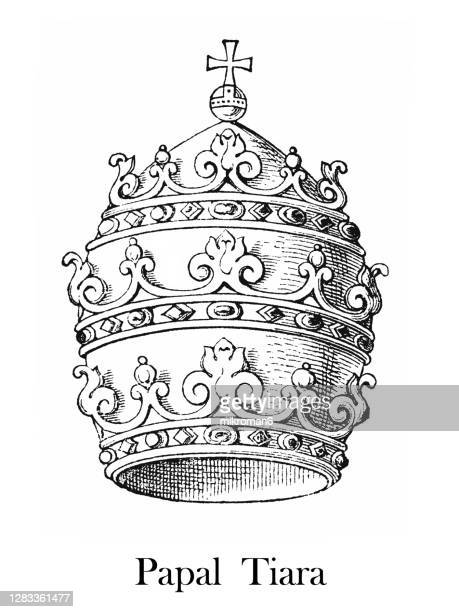 antique engraving illustration of papal tiara - pope stock pictures, royalty-free photos & images
