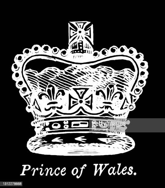 antique engraving illustration of prince of wales crown - british royalty stock pictures, royalty-free photos & images