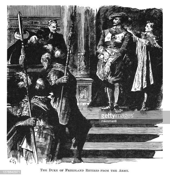 antique engraving illustration of the duke of friedland retires from the army - duke stock pictures, royalty-free photos & images
