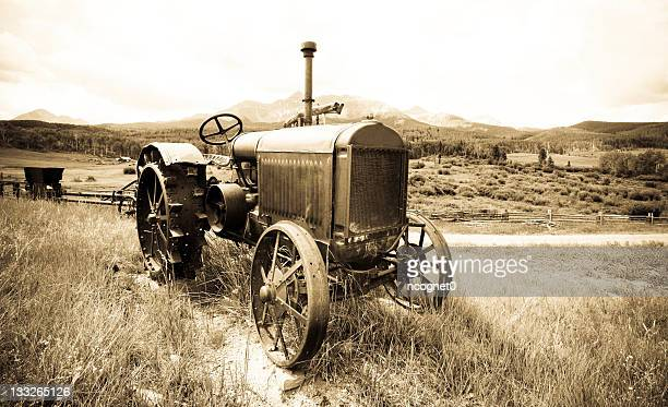 antique farm tractor - tractor stock pictures, royalty-free photos & images