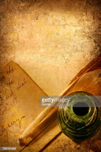 Antique Feather Quill, Inkwell and Letter