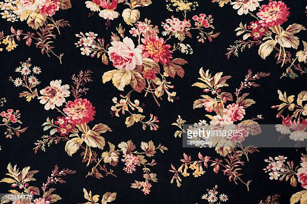 antique floral fabric sb40 close up - flower wallpaper stock pictures, royalty-free photos & images