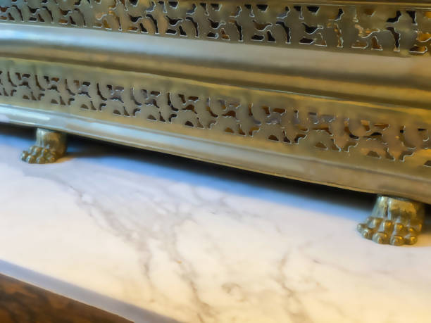 antique footed brass fireplace screen surround