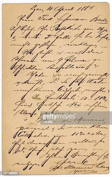 antique french letter handwriting old postcard - message stock pictures, royalty-free photos & images