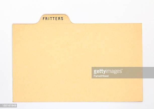 アンティークのフリッタードーナツ指数&伝統的なレシピカード、紙の背景