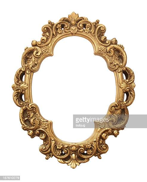 antique gold frame - oval shaped objects stock pictures, royalty-free photos & images