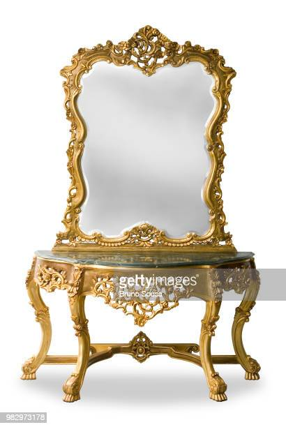 antique gold mirror furniture - baroque stock pictures, royalty-free photos & images