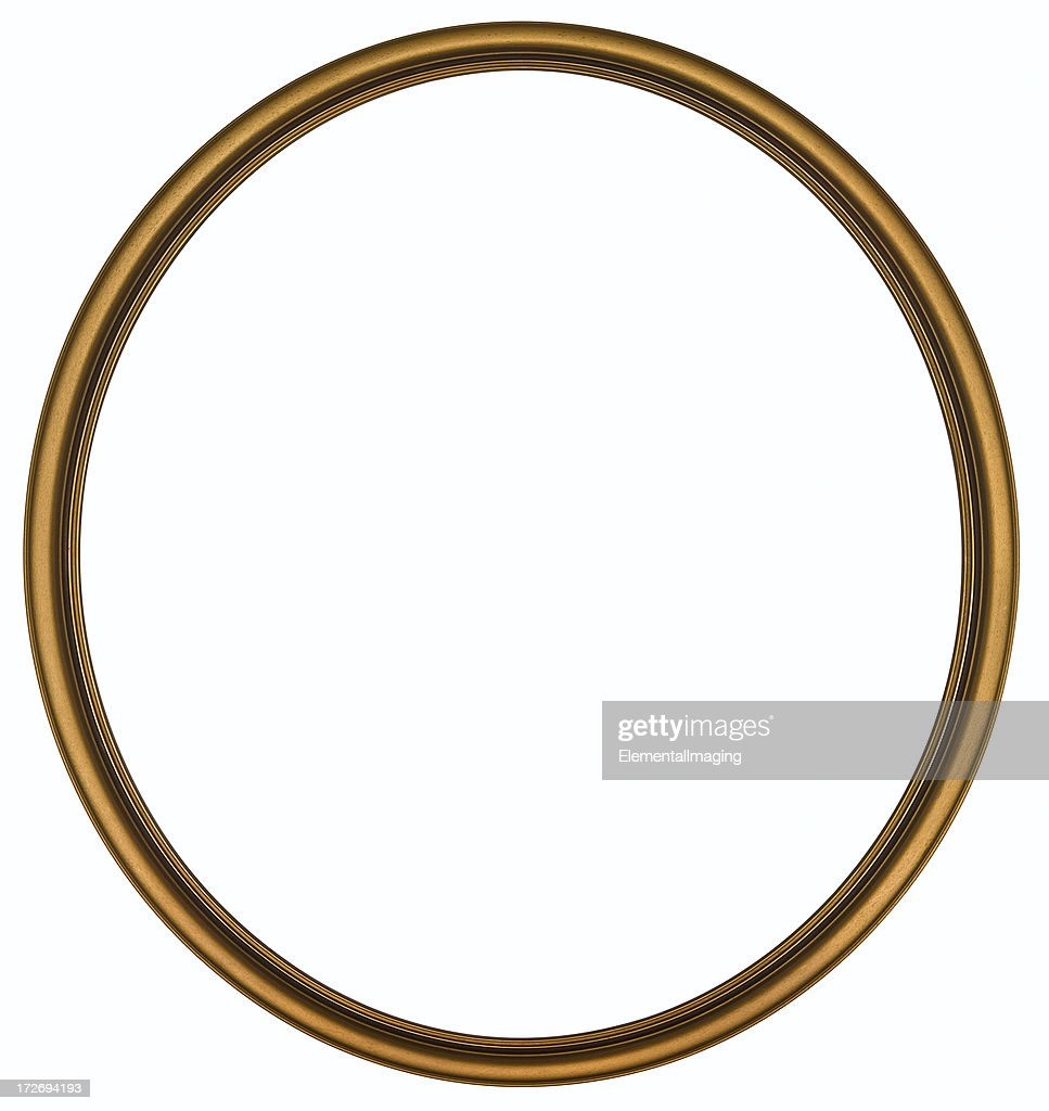 antique gold round picture frame isolated with clipping