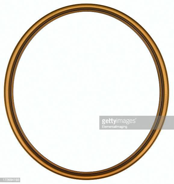 antique gold round picture frame. isolated with clipping path - oval shaped objects stock pictures, royalty-free photos & images