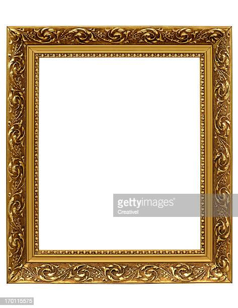 Antique Golden Ornate Picture Frame with Clipping Path