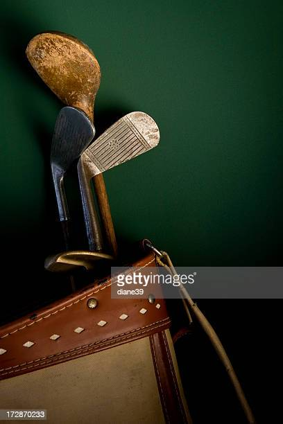 antique golf clubs and bag