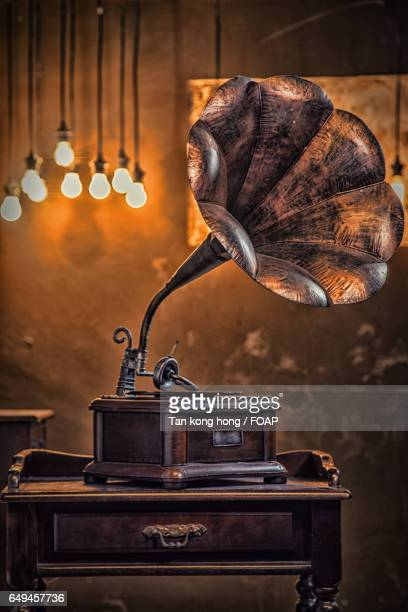 Antique gramophone on table