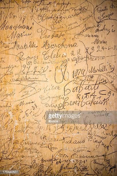 Antique handwritten graffiti grunge wall texture