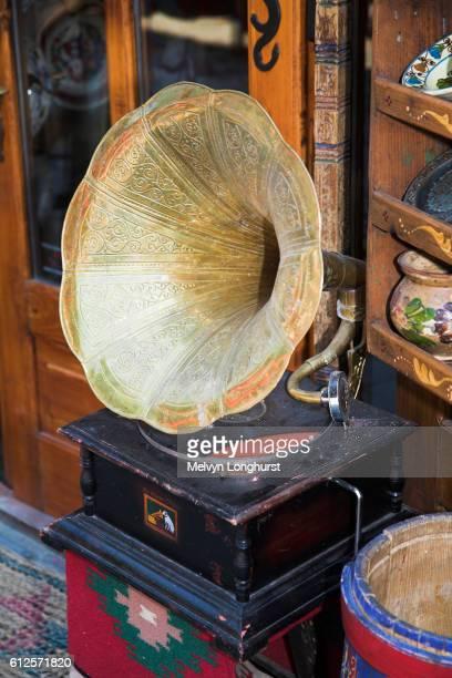 Antique His Masters Voice gramophone for sale in antique shop, Sighisoara, Transylvania, Romania
